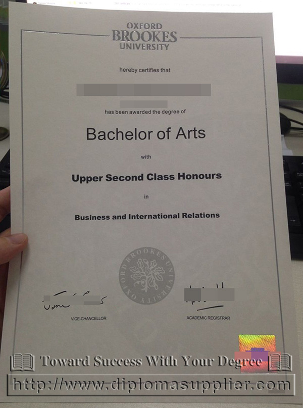 a picture of  Oxford Brookes University diploma