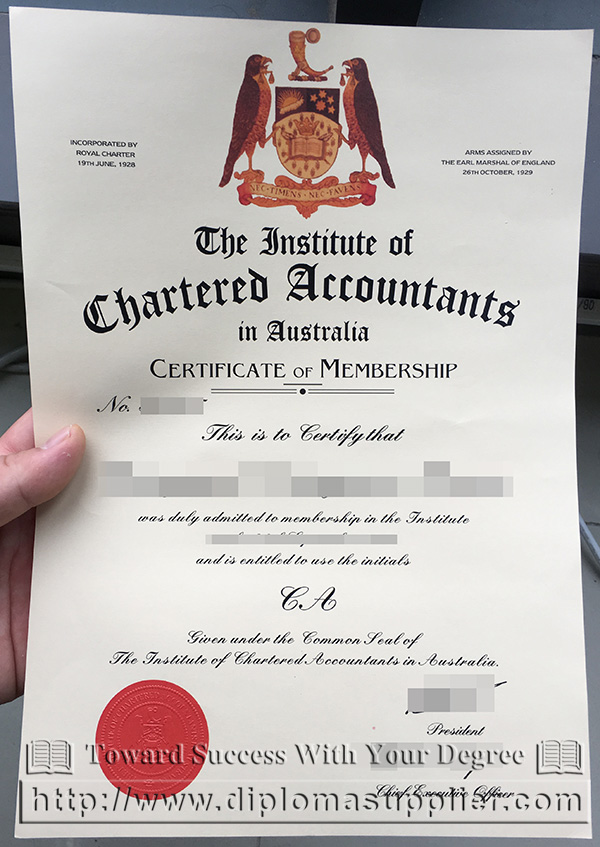 ICAA certificate, The Institute of Chartered Accountants in Australia certificate