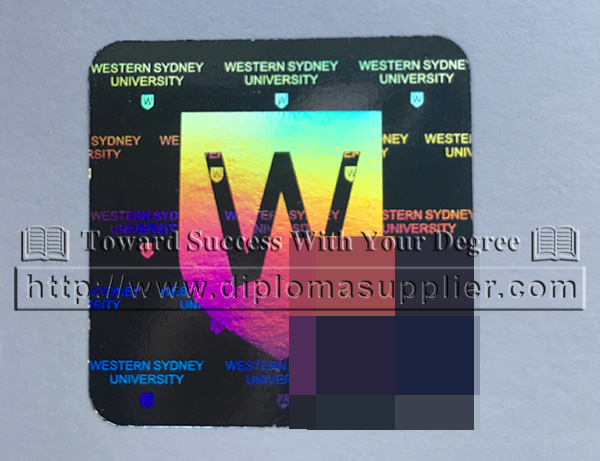 Western Sydney University hot stamp, Western Sydney University hologram, WSU logo