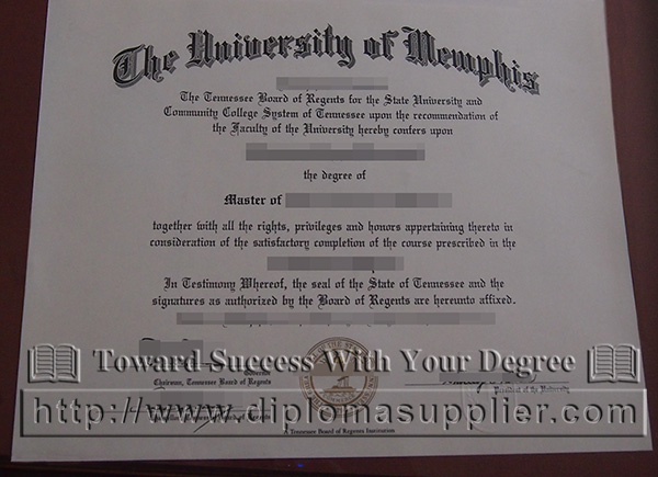 University of Memphis degree certificate