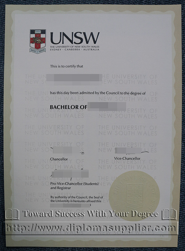 University of New South Wales/UNSW degree certificate