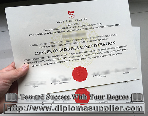 McGill University MBA degree certificate