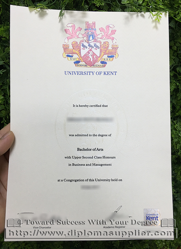 University of Kent Bachelor of Arts degree certificate