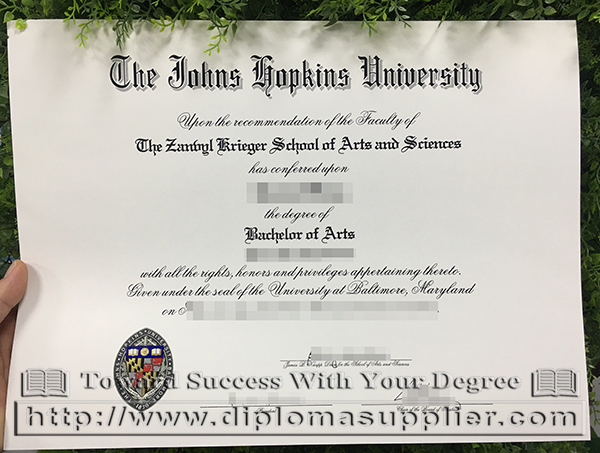 The Johns Hopkins University degree, JHU diploma, JHU degree, JHU certificate